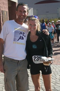 Race Dir. Dave Farren with Meteorologist Cecily Tynan